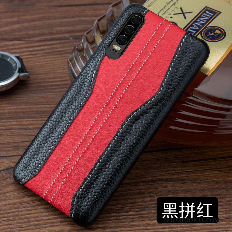 Skal Till Huawei P30 Väska Högt Utbud Sy Blå Läder