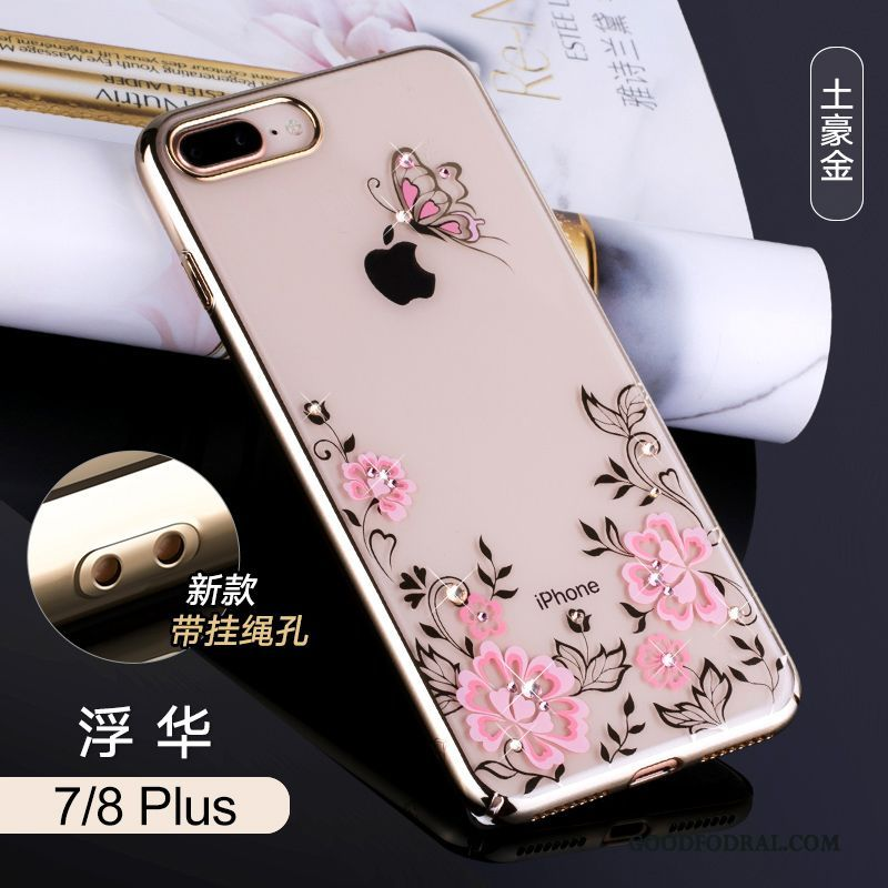 Skal Till iPhone 7 Plus Strass Guld Telefon All Inclusive Svart Transparent  ... 639aecd1d7ea2