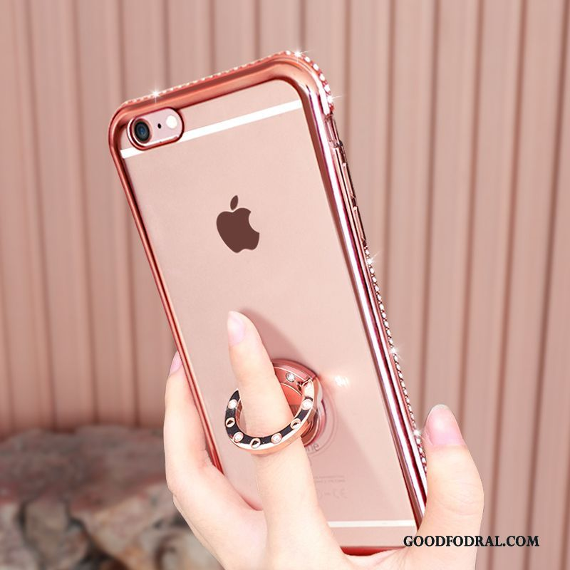 Skal Till iPhone 6/6s Plus Strass Support Mjuk Transparent Telefon Rosa Guld