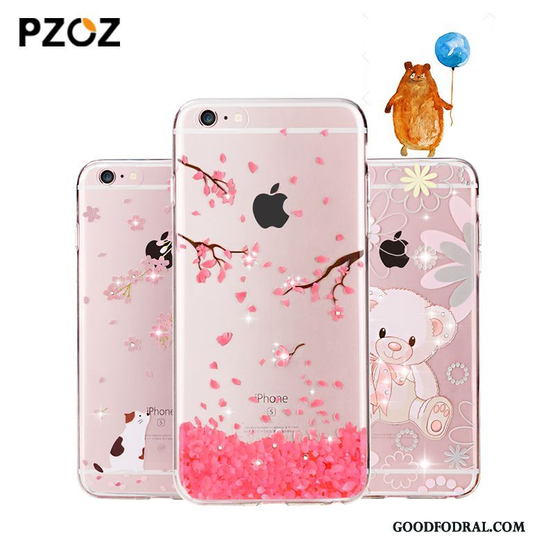 Skal Till iPhone 6/6s Plus Telefon Strass Fodral Transparent Silikon Mjuk